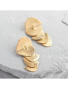 Gold Hammered Tiered Statement Earrings by World Market