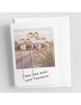 Gold And Rhinestone Earrings Gift Set With Greeting Card by World Market