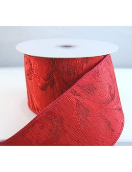 "Wire Edged Jaquard Filigree Scroll Red Ribbon 2 1/2"" 10 Yards … by Premium Ribbon"
