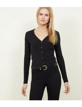 Black Ribbed Button Front Cardigan by New Look