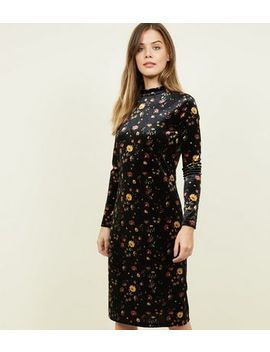Jdy Black Floral Velvet Midi Dress by New Look