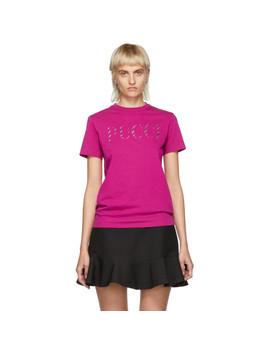 Pink Glitter Logo T Shirt by Emilio Pucci