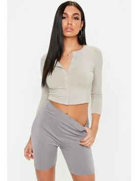 Stone Button Front Long Sleeve Crop Top by Missguided