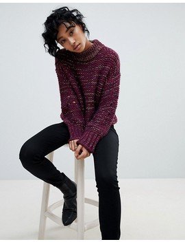 Pieces Mixed Yarn Chuink Roll Neck Sweater by Pieces