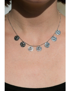 Silver Coin Charm Necklace by Brandy Melville