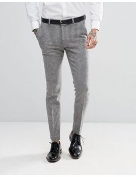Asos Design Wedding Super Skinny Suit Pants In Grey Houndstooth by Asos Design
