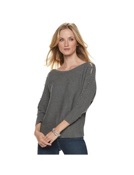 Women's Jennifer Lopez Ribbed Button Accent Sweater by Kohl's