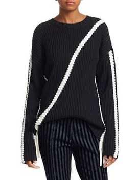 Ribbed Wool Braided Trim Sweater by Derek Lam 10 Crosby