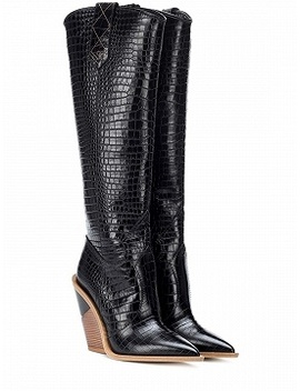 Black Stripe Microfiber Pointed Toe High Heeled Over The Knee Boots by Choies