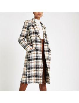 Cream Check Long Sleeve Wool Coat by River Island