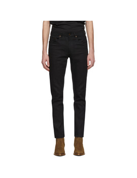 Black Cropped Skinny Jeans by Saint Laurent