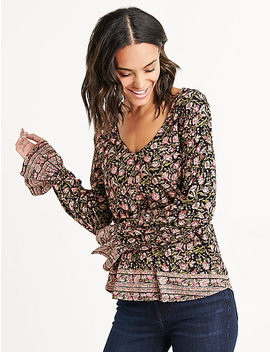 Border Print Bell Sleeve Top by Lucky Brand