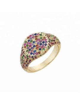 Rainbow Signet Ring, Rainbow Ring, Micro Pave Rainbow Ring, Multi Color Signet Ring, Pave Signet Ring by Etsy
