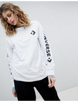Converse Long Sleeve T Shirt In White With Arm Graphic by Converse