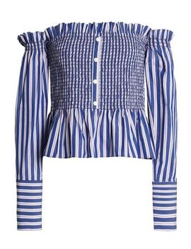 Blaine Off The Shoulder Checked Cotton Poplin Blouse by Petersyn