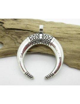 Double Horn Crescent Pendant, Tibetan Silver Horn Pendant, 35x23mm (2) by Etsy