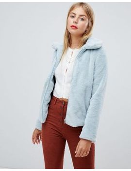 Emory Park Zip Front Collared Coat In Faux Fur by Emory Park