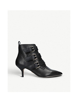 Raya Buckled Leather Ankle Boots by Kurt Geiger London