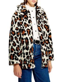 Leopard Borg Coat by Topshop