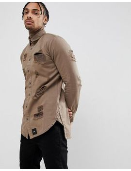 Sixth June Muscle Distressed Shirt In Khaki by Sixth June