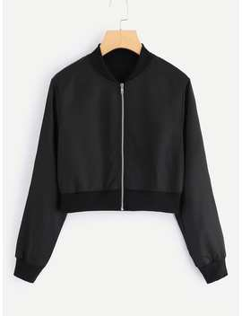 Solid Zip Up Front Crop Jacket by Romwe