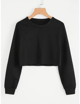 Basic Pullover Crop Sweatshirt by Romwe