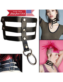 Black Studded Strap Faux Leather Choker Wide Slave/Dog Collar Ring Neck Bondage by Unbranded