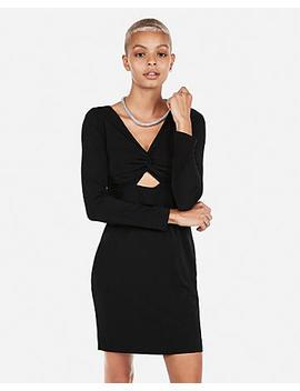 Long Sleeve Twist Front Sheath Dress by Express