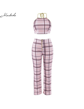 Macheda 2018 Women 2 Pieces Bodycon Plaid Suit Set Fashion Summer Female Casual Pink Playsuit Outfit 2pcs Set by Macheda