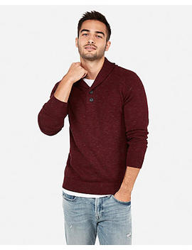 Button Shawl Neck Sweater by Express