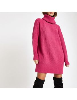 Pink Knit Roll Neck Sweater Dress by River Island