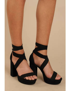 Alice Black Suede Ankle Tie Heels by Tobi