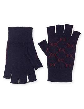 Men's Logo Knit Fingerless Gloves by Gucci
