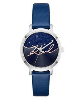 Camille Stainless Steel And Leather Strap Watch by Karl Lagerfeld