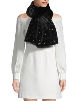 Embellished Faux Fur Pull Through Scarf by Karl Lagerfeld