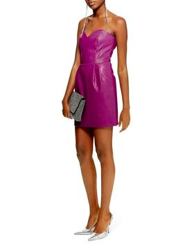 Faux Leather Bandeau Minidress by Topshop