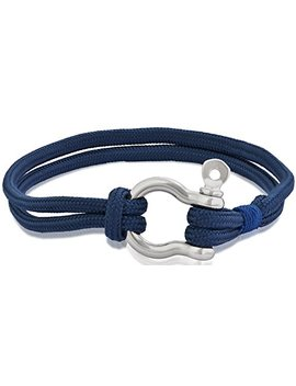 Edforce Stainless Steel Nautical Men's Women's Shackles Screw Tactical Rope Cord Wrap Cord Wristband Bracelet, 21cm (8.25in) by Edforce