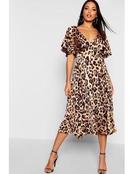 Leopard Matte Satin Ruffle Angel Sleeve Midi Dress by Boohoo