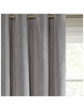 John Lewis & Partners Lustre Velvet Pair Lined Eyelet Curtains, Silver by John Lewis & Partners