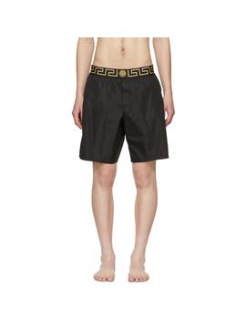 Black Greek Key Border Swim Shorts by Versace Underwear