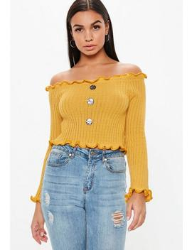 Mustard Button Bardot Crop Top by Missguided