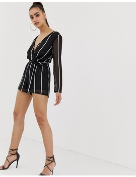 Missguided Tie Waist Plunge Playsuit In Mono Stripe by Missguided