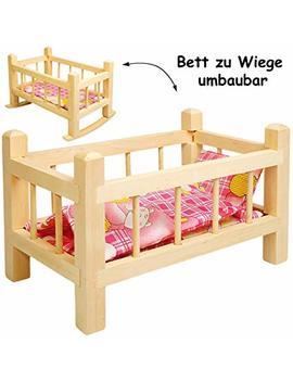 Alles Meine Gmb H 2 In 1: Puppenbett & Puppenwiege   Aus Holz   Umbaubar   Mit Bettzeug    Mädchen Farben    34 Cm Lang   Bett Aus Naturholz   Für Puppen   Decke & Kopfkissen.. by Amazon