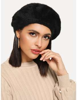 Plain Beret Hat by Romwe