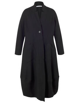 Chesca Notch Collar Boiled Wool Coat, Black by Chesca