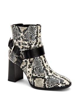 Agnes Buckle Detail Snake Print Western Block Heel Booties by Bcb Generation