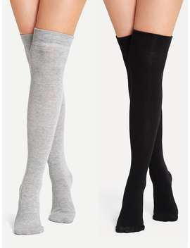 Plain Over The Knee Socks 2pairs by Romwe