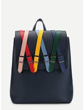 Buckle Decor Pu Flap Backpack by Romwe