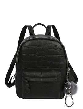 Pom Pom Decor Croc Embossed Backpack by Romwe