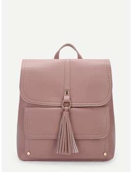 Plain Tassel Detail Flap Backpack by Romwe
